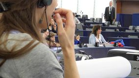 European Parliament in Strasbourg open days with people. Strasbourg, France - May 14, 2017: People applauding after speech during Open Days visiting European stock video