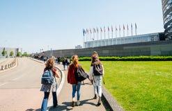 Girls young walking European Parliament Strasbourg
