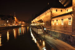 Strasbourg, France. Night view of the river Ill Stock Image