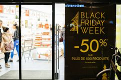 Black Friday in France at cosmetics store. STRASBOURG, FRANCE - NOV 21, 2017: Black Friday week sign on the door of a French store selling cosmetics with Stock Images