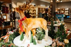 Reindeer toys and Christmas decoration on display in Villeroy & Stock Photo