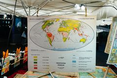 Vintage world map with annual precipitations at a flea market st. STRASBOURG, FRANCE - NOV 21, 2017: Vintage world map with annual precipitations at a flea Stock Photography