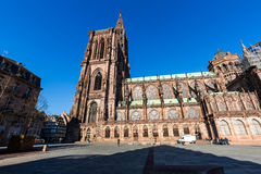 STRASBOURG, FRANCE. NOVEMBER 5: Exterior views of Cathedral of Our Lady in the old town part of Strasbourg on November 5, 2015. Strasbourg is a city in region royalty free stock photo