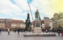 Central Christmas Tree Install in Place Kleber with General Monu. STRASBOURG, FRANCE - OCT 30, 2017: Strasbourg Christmas Tree Install in central Place Kleber Royalty Free Stock Photo