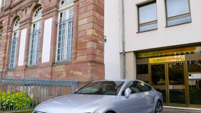 Audi A7 Sportback parked in city of Strasbourg. STRASBOURG, FRANCE - OCT 1, 2017: Latest model of luxury Audi A7 Sportback car parked on the streets of stock video footage