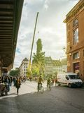 Central Christmas Tree Install in Place Kleber sunflare. STRASBOURG, FRANCE - OCT 30, 2017: Majestic Strasbourg Christmas Tree Install in central Place Kleber Royalty Free Stock Photography