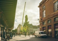 Central Christmas Tree Install in Place Kleber. STRASBOURG, FRANCE - OCT 30, 2017: Majestic sunlight over Strasbourg Christmas Tree Install in central Place Stock Photos