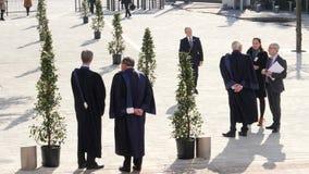 ECHR Judges waiting for Emmanuel Macron French President. STRASBOURG, FRANCE - OCT 31, 2017: Rear view of European Court of Human Rights president Guido Raimondi