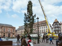 Central Christmas Tree Install in Place Kleber. STRASBOURG, FRANCE - OCT 30, 2017: Tall crane installing Strasbourg Christmas Tree in central Place Kleber Square Royalty Free Stock Images
