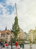 Central Christmas Tree Install in Place Kleber by crane. STRASBOURG, FRANCE - OCT 30, 2017: Tall crane installing Strasbourg Christmas Tree in central Place Stock Photography
