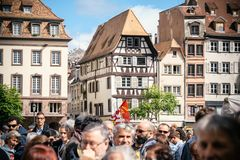 Place kleber gahering political march during a French Nationwide. STRASBOURG, FRANCE - SEPT 12, 2017: Demonstrators gathering Place Kleber at political march Royalty Free Stock Image