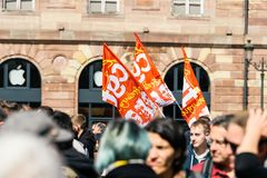 Place kleber political march during a French Nationwide day agai. STRASBOURG, FRANCE - SEPT 12, 2017: Demonstrators gathering at political march during a French Royalty Free Stock Photography