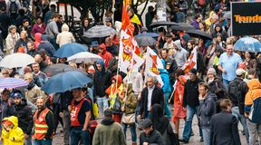 Aerial view of political march during a French Nationwide day ag. STRASBOURG, FRANCE - SEPT 12, 2017: View from above of demonstrators walk at political march Royalty Free Stock Photography