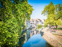 Strasbourg, France - View of historic district in old town, nestles on an island formed by two arms of the River Ill. royalty free stock images
