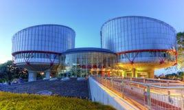 STRASBOURG FRANKRIKE - JUNI 19, 2016: Europeisk domstol av mänskliga rättigheter som bygger, HDR Fotografering för Bildbyråer