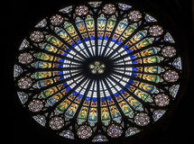 Strasbourg - The gothic cathedral, rose window stock photos