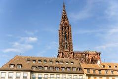 Strasbourg gotisk domkyrka och gammal stad, Frankrike Arkivbilder