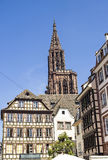 Strasbourg - Half-timbered house and cathedral Stock Photo