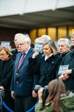Strasbourg holds silent vigil for those killed in Paris attack. STRASBOURG, FRANCE - JANUARY 09, 2015: Council of Europe employees and Thorbjorn Jagland Stock Photo