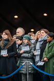 Strasbourg holds silent vigil for those killed in Paris attack. STRASBOURG, FRANCE - JANUARY 09, 2015: Council of Europe employees and Thorbjorn Jagland Royalty Free Stock Photos