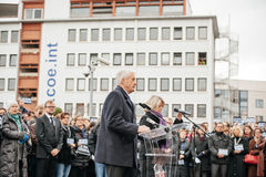Strasbourg holds silent vigil for those killed in Paris attack. STRASBOURG, FRANCE - JANUARY 09, 2015: Thorbjorn Jagland - Secretary General of the Council of Stock Images