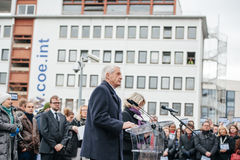Strasbourg holds silent vigil for those killed in Paris attack. STRASBOURG, FRANCE - JANUARY 09, 2015: Thorbjorn Jagland - Secretary General of the Council of Royalty Free Stock Photo