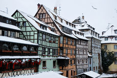 Strasbourg houses during winter Royalty Free Stock Photography