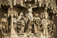 Strasbourg - la cathédrale gothique, sculptures Photo stock
