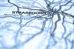 Strasbourg Map. Macro of map showing Strasbourg, Germany. Differential focus with shallow depth of field. Cool filter applied post production Royalty Free Stock Photography