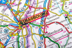 Strasbourg map. The city of  Strasbourg in detail on the map Stock Images