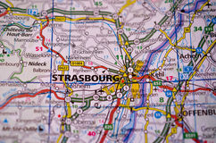Strasbourg on map. Close up shot of Strasbourg France on a map Royalty Free Stock Photography