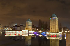 Strasbourg, medieval bridge Ponts Couverts. Stock Photos