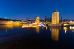 Strasbourg, medieval bridge Ponts Couverts. Alsace, France. Stock Images