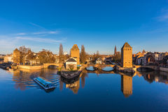 Strasbourg, medieval bridge Ponts Couverts. Alsace, France. Royalty Free Stock Photo