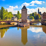 Strasbourg, medieval bridge Ponts Couverts and Cathedral. Alsace Stock Photo