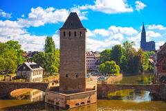 Strasbourg, medieval bridge Ponts Couverts and Cathedral. Alsace Stock Photos