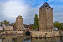Strasbourg, medieval bridge Ponts Couverts, historic district Petite France Royalty Free Stock Photos