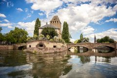 Strasbourg, medieval bridge Ponts Couverts in the tourist area `Petite France`. Alsace, France. stock photos