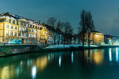 Strasbourg at night and the Ill river, France Royalty Free Stock Photo