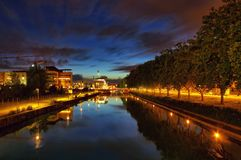 Strasbourg by night. Night scene along the water canals in the old town of Strasbourg, France Stock Photos