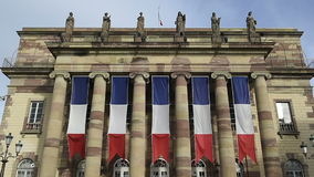 Strasbourg Opera covered with Flags stock video