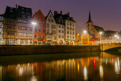 Strasbourg. Quay St. Thomas. Scenic view of the promenade of St. Thomas in the quarter Petite France at sunset. Strasbourg. Alsace stock image