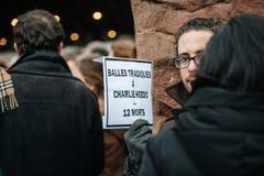 Strasbourg rymmer tyst vaka för de som dödas i Paris attack Fotografering för Bildbyråer