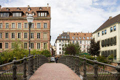 Strasbourg's cityscape with a foot-bridge over the Ill river Royalty Free Stock Photography