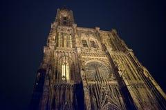 Strasbourg sikt för domkyrkaNotre Dame natt alsace france Royaltyfri Fotografi