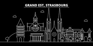 Strasbourg silhouette skyline. France - Strasbourg vector city, french linear architecture, buildings. Strasbourg travel. Strasbourg silhouette skyline. France Royalty Free Stock Image
