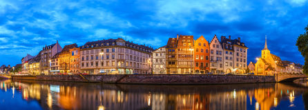 Strasbourg. Panorama night city skyline, , France Royalty Free Stock Images