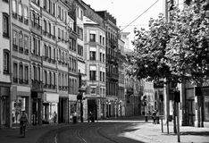 Strasbourg street. Black and white image of one of the old streets in Strasbourg, France Stock Photo