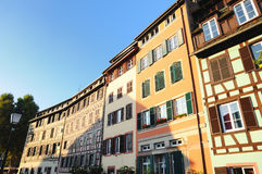 """Strasbourg street. Street in tourist area """"Petite France"""" in Strasbourg, France in evening Royalty Free Stock Images"""