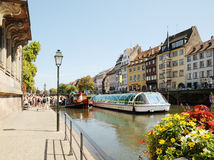 Strasbourg in summer. Thousands of tourists from different countries visit Alsace in best time of season on August 21, 2010 in Strasbourg Stock Images